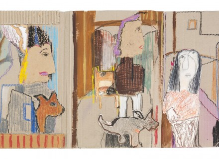 09-The Little People-58x31-mixed media on cardboard