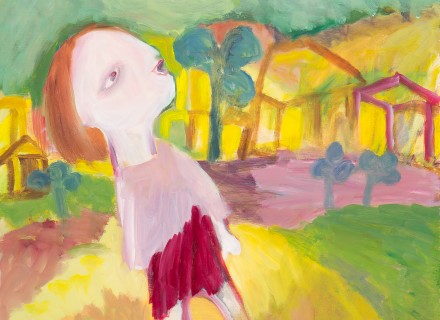 22-Girl Looking at Green Cloud-53x48-oil on board